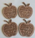 4 x Teachers change the world apple wood drink coaster child end year present
